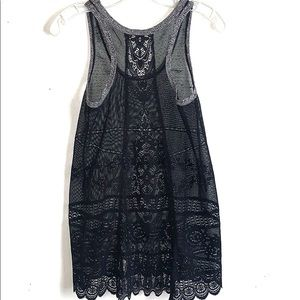 Free People Racer Back Black Lace Tank